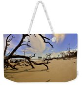 Little Blue And Driftwood Beach Weekender Tote Bag by Lisa Wooten