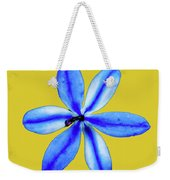 Little Blue Flower On A Yellow Background Weekender Tote Bag