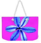 Little Blue Flower On Dark Pink Weekender Tote Bag