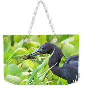 Little Blue Heron Catches A Frog Weekender Tote Bag