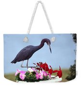 Little Blue Heron In Flower Pot Weekender Tote Bag