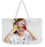 Little Girl Covered In Paint Making Funny Faces. Weekender Tote Bag