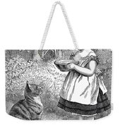 Little Girl Gives Her Cat Its Dinner Weekender Tote Bag
