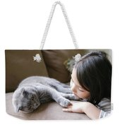 Little Girl Hanging Out With Her Scottish Fold Cat Weekender Tote Bag
