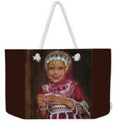 Little Girl In India Weekender Tote Bag