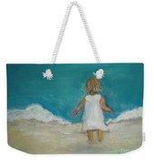 Little Girl Playing On Beach Weekender Tote Bag