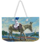 Little Girl With A Blue Bonnet Weekender Tote Bag