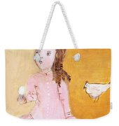Little Girl With Her Hen Weekender Tote Bag