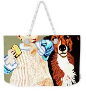 Little Girl With Hungry Mutt Weekender Tote Bag by Marian Cates