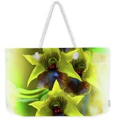 Little Green Apple Orchid On White Weekender Tote Bag