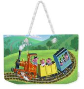 Little Happy Pigs On Train Journey Weekender Tote Bag by Martin Davey