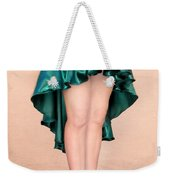 Ameynra Fashion Satin High Low Skirt, Dark-green Weekender Tote Bag