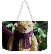 Little Sweet Teddy Bear With Knitted Scarf Under The Christmas Tree Weekender Tote Bag