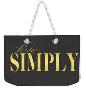 Live Simply Gold Gray Weekender Tote Bag