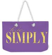 Live Simply Gold Lavender Weekender Tote Bag