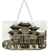 Liverpool Chinatown Arch, Gate Sepia Weekender Tote Bag