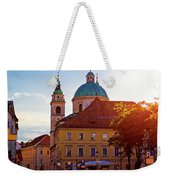 Ljubljana Church And Square Sunset View Weekender Tote Bag