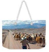Llama Herd On Road Weekender Tote Bag