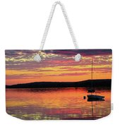 Loan Boat On A River At Sunset Weekender Tote Bag