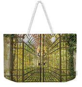 Locked Iron Gate In The Autumn Park.  Weekender Tote Bag