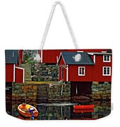 Lofoten Fishing Huts Oil Weekender Tote Bag