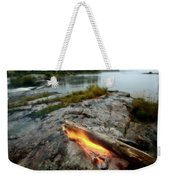 Log On Fire Manitoba Lake Wilderness Weekender Tote Bag