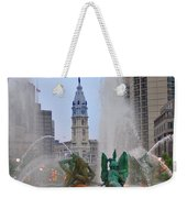 Logan Circle Fountain With City Hall In Backround 2 Weekender Tote Bag by Bill Cannon