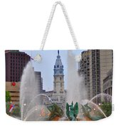 Logan Circle Fountain With City Hall In Backround 4 Weekender Tote Bag by Bill Cannon