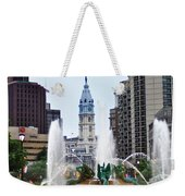 Logan Circle Fountain With City Hall In Backround Weekender Tote Bag by Bill Cannon