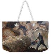 Logger Cutting Tree Trunk, Cameroon Weekender Tote Bag
