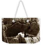 Logger With Ax On Springboard Loggers Sitting Inside Undercut  Circa 1890 Weekender Tote Bag