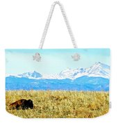 Lone Buffalo Watching The Rocky Mountains Weekender Tote Bag