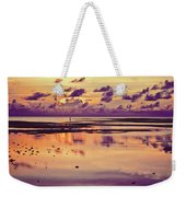 Lone Fisherman In Distance During Beautiful Reflected Sunset With Dramatic Clouds In Maldives Weekender Tote Bag