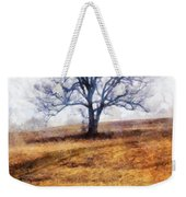 Lone Tree On Hill In Winter Weekender Tote Bag