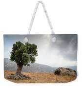 Lonely Olive Tree And Stormy Cloudy Sky Weekender Tote Bag