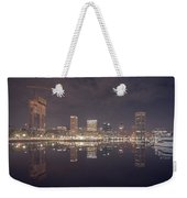 Long Exposure Of The Colorful Baltimore Skyline Weekender Tote Bag