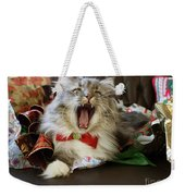 Long Haired Grey And White A Cat Yawns Amid Christmas Wrapping Paper Weekender Tote Bag