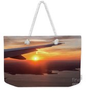 Looking At Sunset From Airplane Window With Lake In The Backgrou Weekender Tote Bag