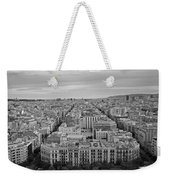 Looking Down On Barcelona From The Sagrada Familia Black And White Weekender Tote Bag