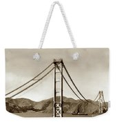 Looking North At The Golden Gate Bridge Under Construction With No Deck Yet 1936 Weekender Tote Bag
