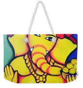 Lord Ganesh By  Sarada Tewari Acrylic Paint On Canvas 24x28inch Weekender Tote Bag