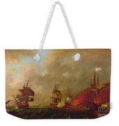 Lord Howe And The Comte Destaing Off Rhode Island Weekender Tote Bag by Robert Wilkins