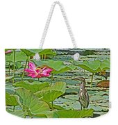 Lotus Blossom And Heron Weekender Tote Bag