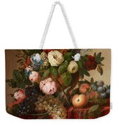 Louis Vidal, Still Life With Flowers And Fruit Weekender Tote Bag