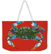 Louisiana Blue On Red Weekender Tote Bag by Dianne Parks