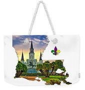 Louisiana Map - St Louis Cathedral Weekender Tote Bag