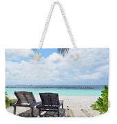 Lounge Chairs At The Beach In Maldives Weekender Tote Bag