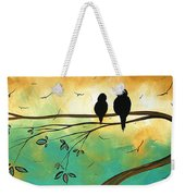 Love Birds By Madart Weekender Tote Bag by Megan Duncanson