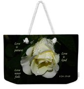 Love Never Fails Weekender Tote Bag