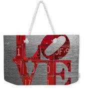 Love Sign Philadelphia Recycled Red Vintage License Plates On Aluminum Sheet Weekender Tote Bag